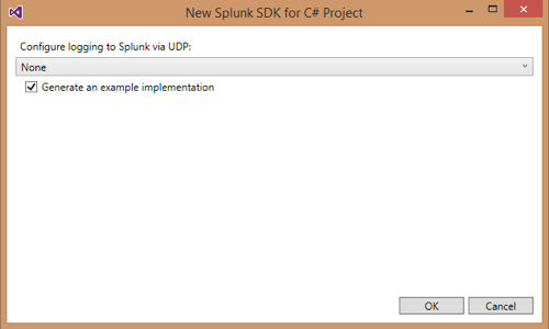 Screen shot of the Splunk SDK for C# Project dialog box