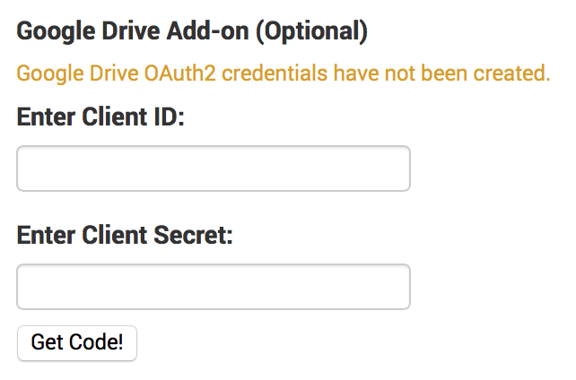Google Drive add-on setup